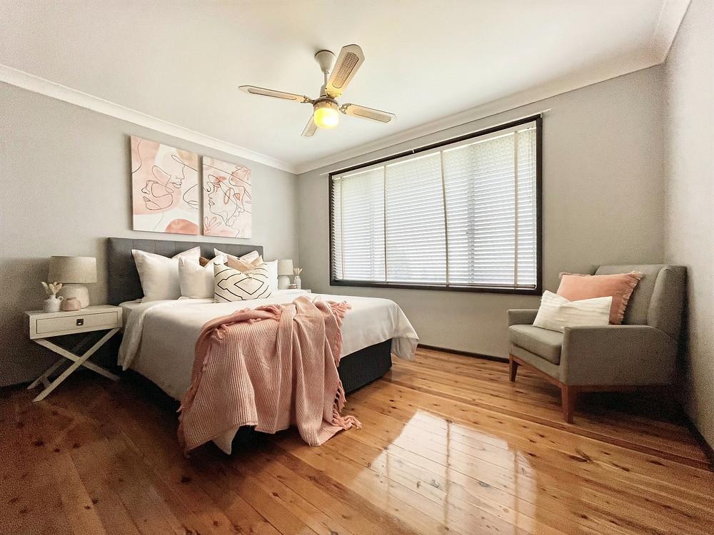 Main bedroom styling in Sydney.