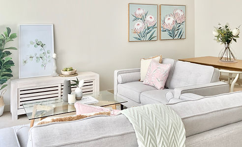 Lounge room styling with neutral tones and a soft colour palette to compliment your homes character
