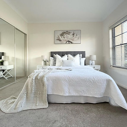 Bedroom home styling complete by Revolution Style Hub in Sydney. Bedroom styling goals.