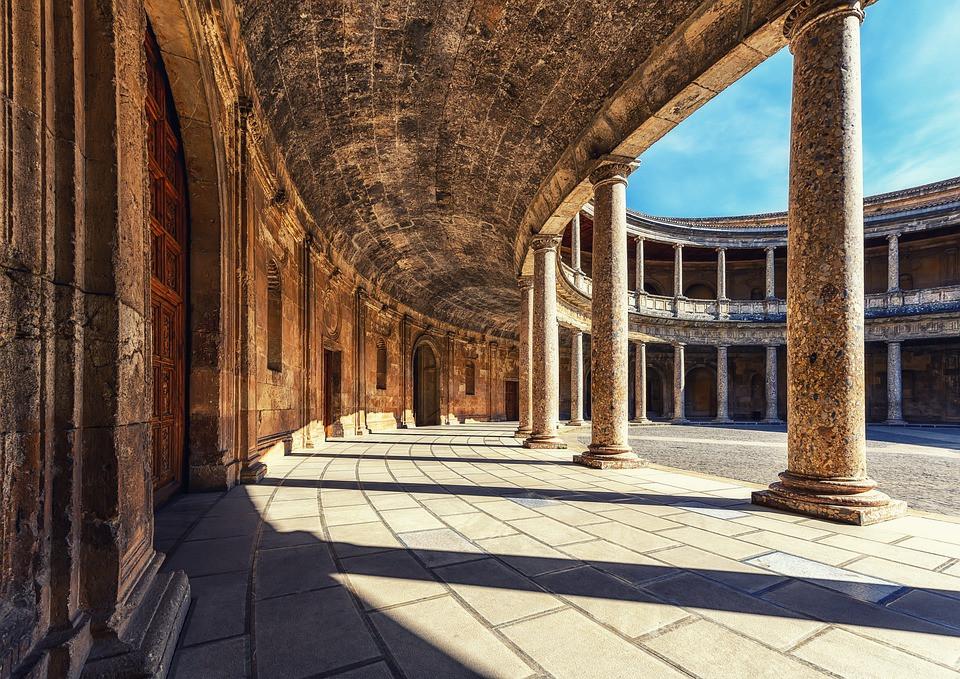 Arquitectura, De Columna, Palacio, Alhambra, Granada