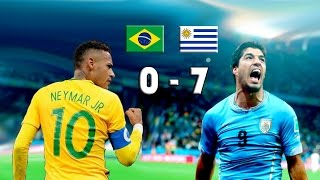 A punto estuvo Brasil de eliminarse en la fase eliminatoria como resultado de este partido... 0-7 contra Uruguay ¡en casa!