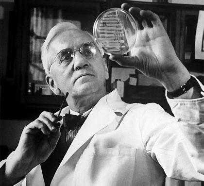 Alexander Fleming observa un cultivo en una placa de Petri