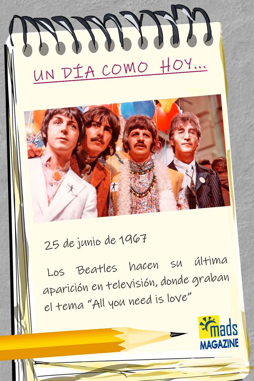 El 25 de junio de 1967 los Beatles hicieron su última aparición en TV