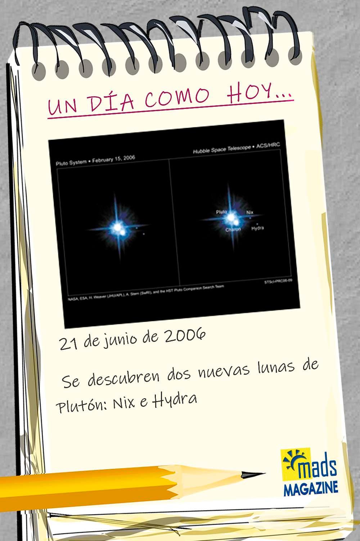 ¿Sabías que el 21 de junio de 2006 se encontraron Nix e Hydra, dos nuevas lunas de Plutón?