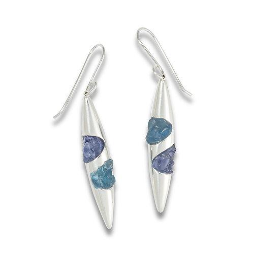 Ovals/Apatite/Amethyst ModPod Earrings