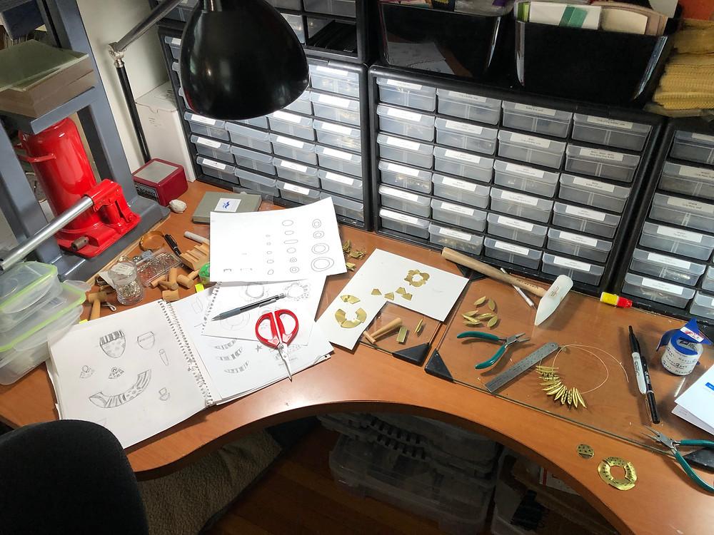Nancy Marland Jewelry designers desk