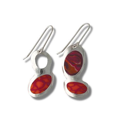 Red Oval Dangle Earrings