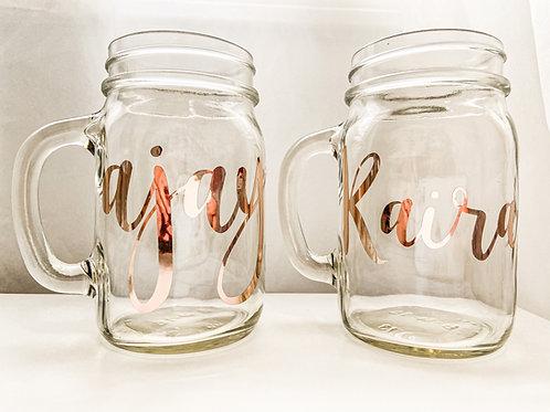 Personalized Custom Monogram Wedding Glass Mason Jar Mug Bride Groom Maria Theresa Bridal Canada US