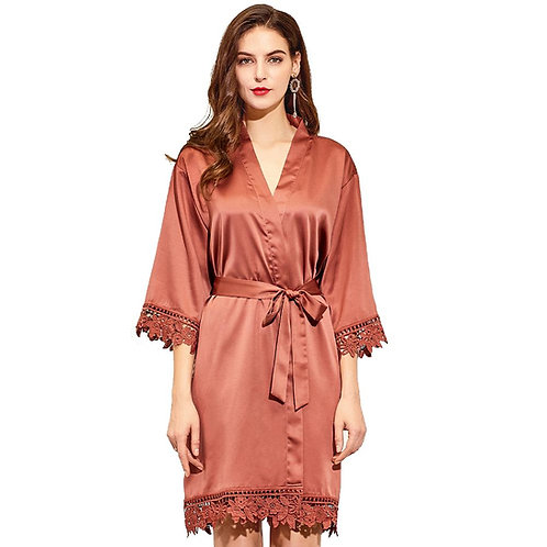 Lace Trim Satin Robe | Blank