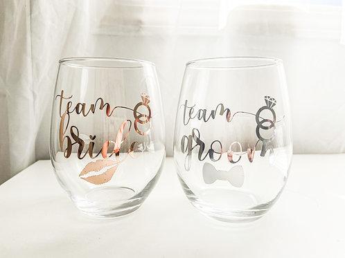 Personalized Custom Monogram Wedding Wine Glass Bride Groom Bridesmaid Maid of Honor Proposal Maria Theresa Bridal Canada US