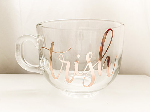 Personalized Custom Monogram Wedding Glass Latte Mug Bride Groom Maria Theresa Bridal Canada US