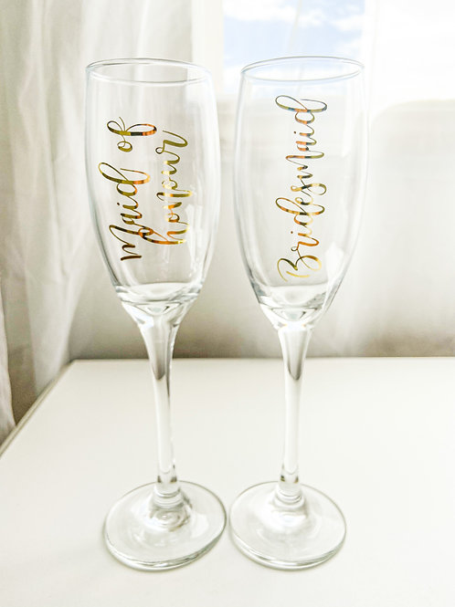 Personalized Custom Wedding Toast Champagne Glass Bride Groom Bridesmaid Maid of Honor Proposal Box Idea Maria Theresa Bridal