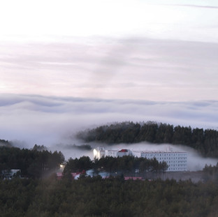 Niebla en el edificio Galicia