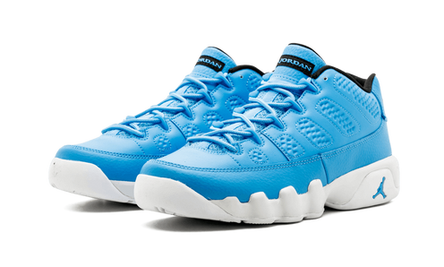 ace108fd9297 The Air Jordan 9 Low Pantone features a full leather University Blue upper  with a textured leather on the mudguard and heel. Contrasting hits of white  land ...