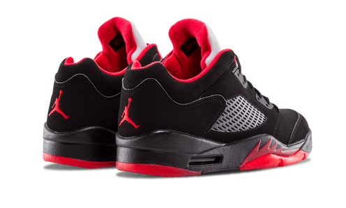 """37342fefb1c Basically taking the original """"Fire Red"""" colorway of the Air Jordan 5 and  dropping the top, this Air Jordan 5 Low sports a white leather upper with  black ..."""
