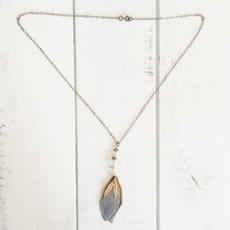 Geo Feather Necklace $158