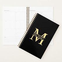 elegant monogram personalsed black planner