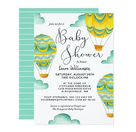 hot air balloons gender neutral baby shower invitation