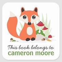 kids book belongs to sticker woodland fox