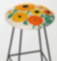 retro sunflowers and bee bar stool