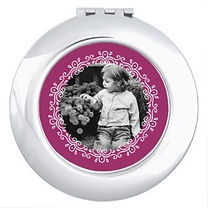purple and ornate wreath round custom photo compact mirror