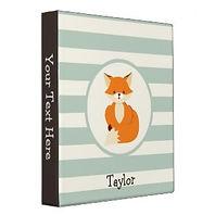 fox and stripes personalised kids binder