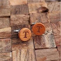 stylish monogram round wood cufflinks
