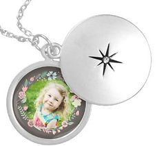 pretty floral and grey silver photo locket