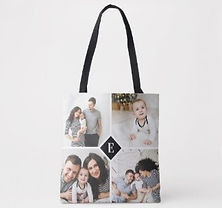 custom photo collage tote bag with monogram