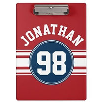 personalised red sport jersey clipboard