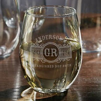 engraved stemless marquee glass