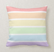 coloful pastel striped throw pillow