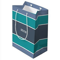 stylish stripes monogrammed mens gift bag