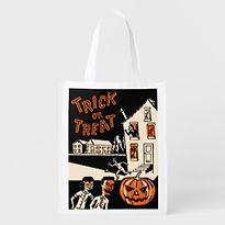 retro halloween trick or treat grocery bag