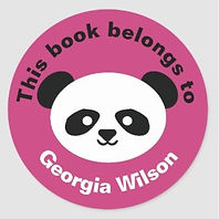 personalised kids book label with panda face