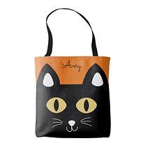 smiling black cat tote bag
