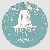 sweet white bunny art kids book stickers