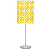 bright yellow geometric pattern table lamp