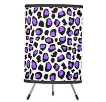 purple leopard spots pattern tripod lamp