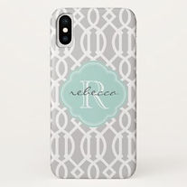 grey mint trellis pattern personalised iphone case