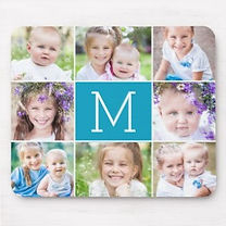 custom photo collage mouse pad with central monogram