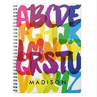 colorful watercolor alphabet personalised kids notebook