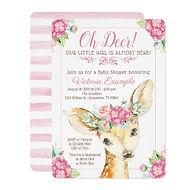 deer flower crown pink girl baby shower invitation
