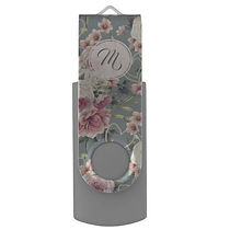elegant floral and pearls monogram usb flash drive