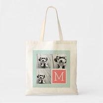 modern cutom photo tote bag with monogram