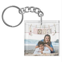 acrylic photo keychain with love banner overlay