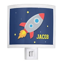 space rocket personalised kids night light