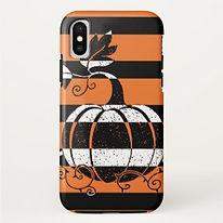 trendy pumpkin striped halloween phone case
