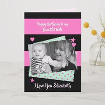 custom photo wife birthday card