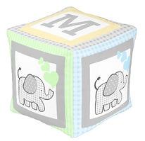 Baby Elephant Monogram Cube Nursery Pouf